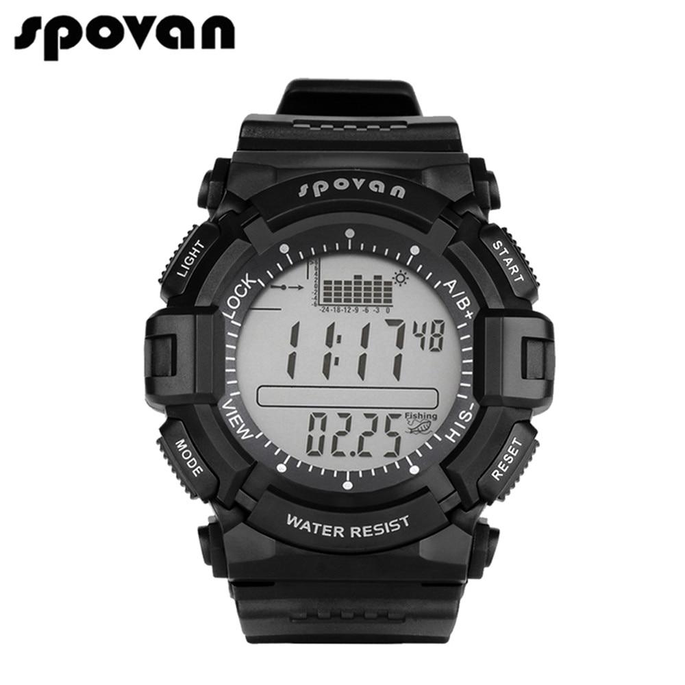 SPOVAN Men's Digital Sports Watch Outdoor Wristwatch Waterproof, Fishing Remind/Weather Forecast/ LED Backlight/<font><b>Stopwatch</b></font> SPV706