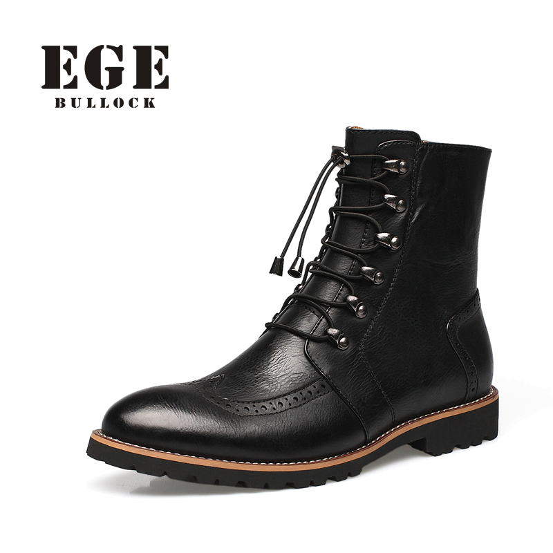 British Style Zip Fashion Autumn Men Boots Plus size Handmade Genuine Leather Ankle Boots High Quality