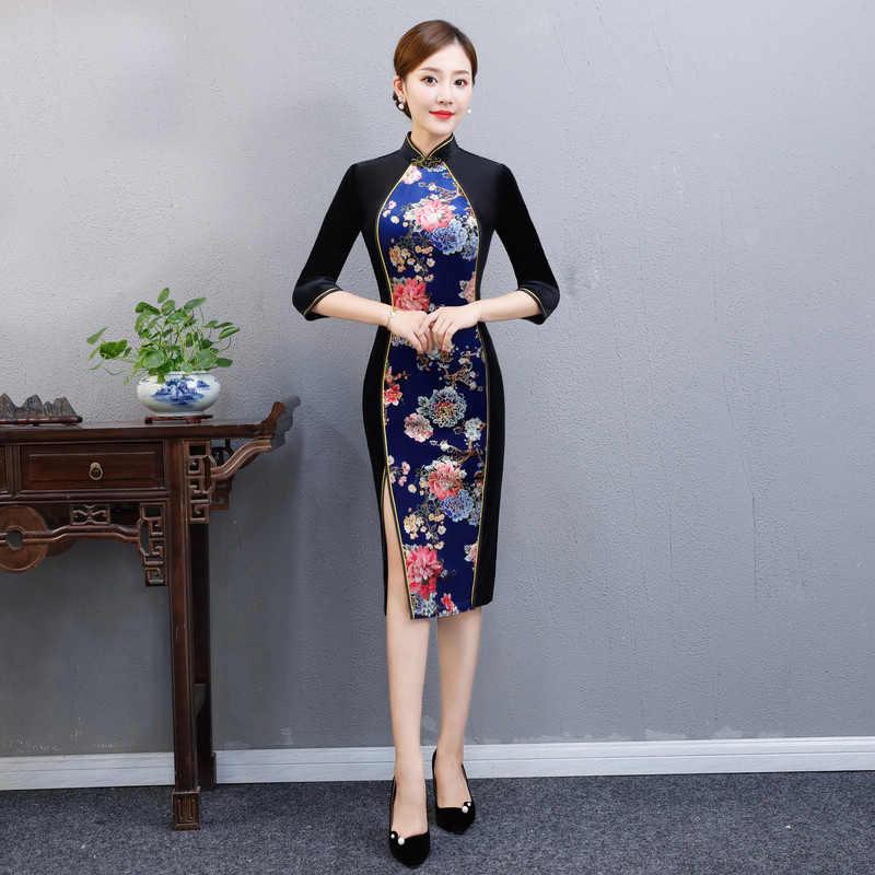 2019 الركبة طول شيونغسام خمر الصينية الماندرين طوق اللباس جديد إمرأة الربيع القطيفة تشيباو ضئيلة حزب فساتين Vestido S-4XL