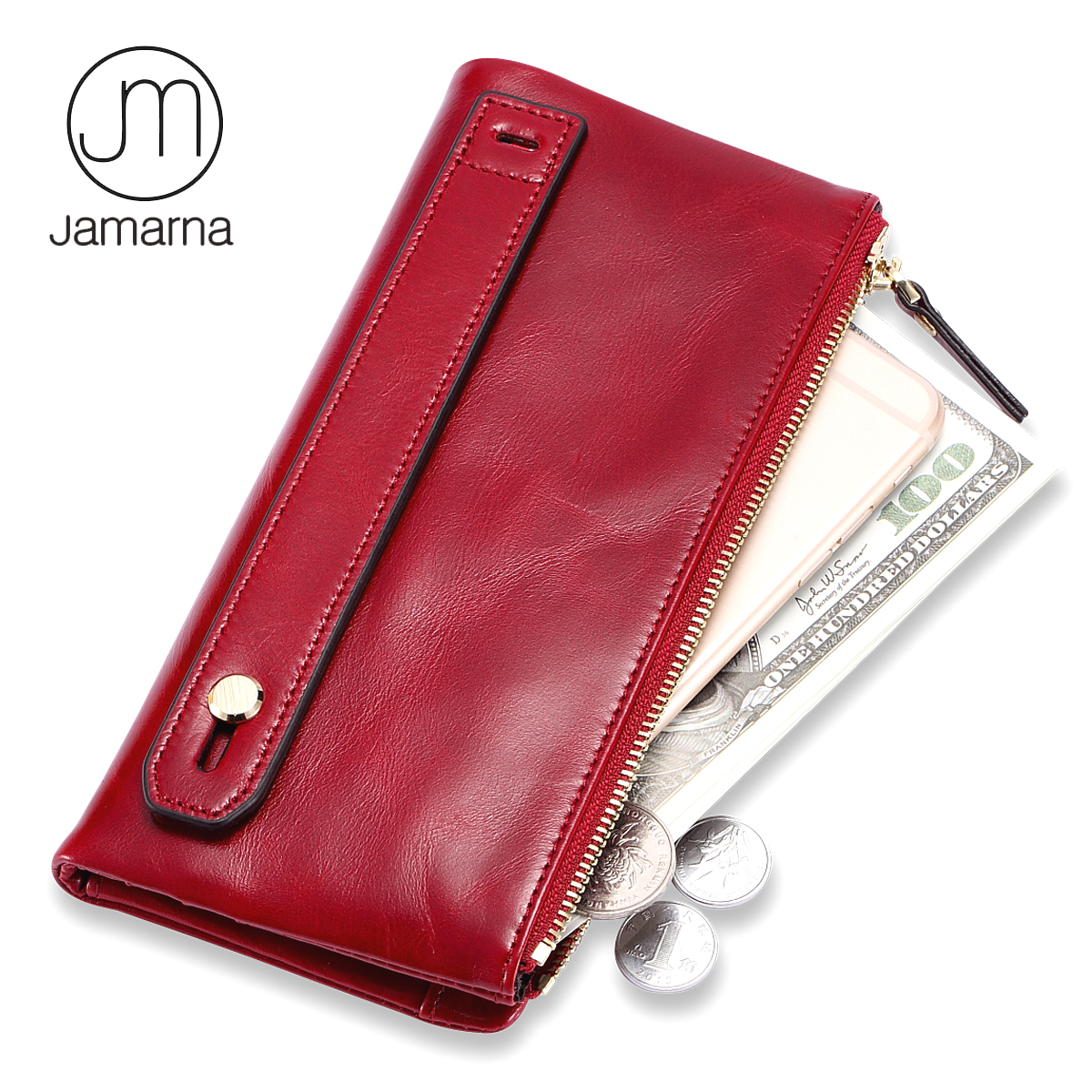 Jamarna Purse Genuine Leather Wallet Female Long Clutch Women Purse With Coin Pocket Women Wallets With Card Holders Purse Women women wallets long purse women famous designer brand luxury female purse ladies coin purse card holders clutch