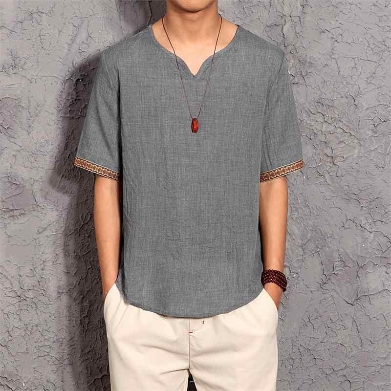 Льняные мужские футболки модные 2019 летние новые мужские футболки с воротником-стойкой в китайском стиле однотонное повседневные цветные футболки с короткими рукавами