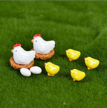 10 pieces Mini Animals Resin Craft Cock Chicken Combination Bonsai Figurine Fairy Garden Miniatures Ornaments Garden Decoration