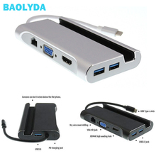 Baolyda USB C Hub to HDMI Adapter Type C Multiport Dock to 4K HDMI 1000Mbps Ethernet VGA USB 3.0  for MacBook Pro/Disk/Keyboard недорго, оригинальная цена