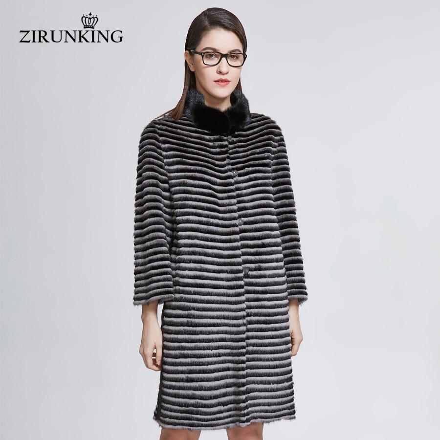 ZIRUNKING New Fashion Real Mink Fur Coat For Women Genuine Rabbit Fur Jacket Lady Natural Fur Parkas Plus Size Overcoats ZC1832