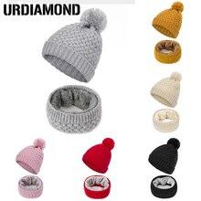URDIAMOND, зимний шарф, женский головной убор, набор, Модный женский Одноцветный вязаный головной убор, зимняя мягкая шапка, шарфы, теплый помпон, шапочки