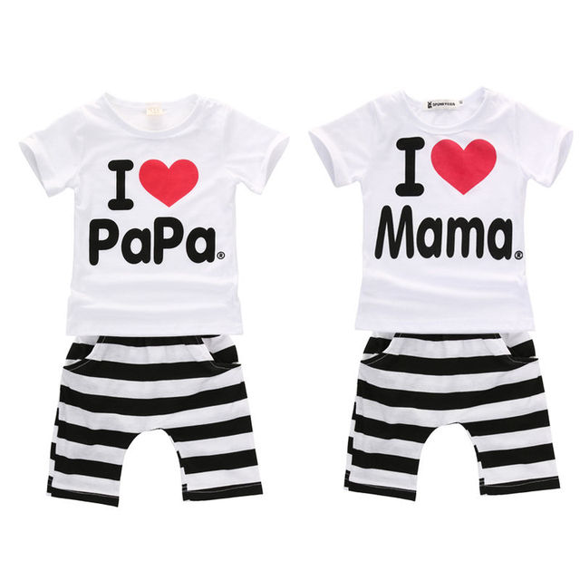 Bebe ropa ropa del cabrito fijaron 2 unids verano I love Mama Papa camiseta Top + pantalones traje ropa Set 3 - 24 M