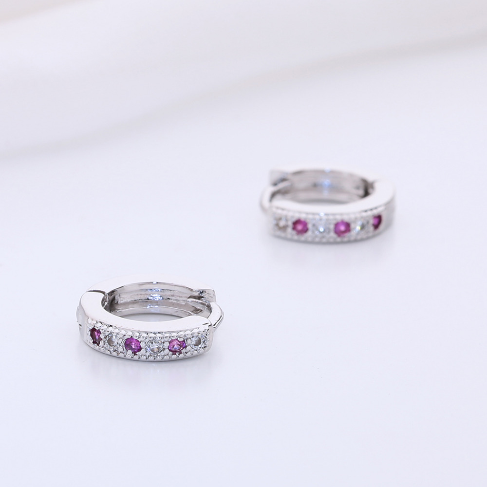 Kinitial New Hoop Earring Charm Colorful Classic Baby CC Earring Cubic Zirconia Earring For Baby Teen Girls Jewelry A1174 3