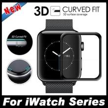 Для iWatch Полное Покрытие 3D Изогнутые Края Покрытия Закаленное Стекло для apple watch серии 2 38 мм 42 мм экран протектор защитная фильм
