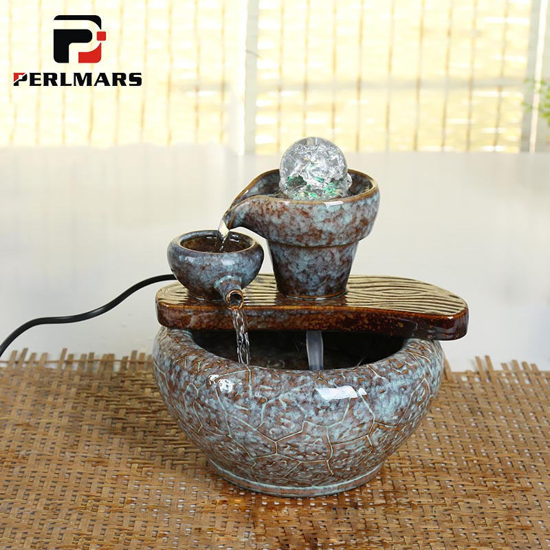 110 240V Ceramic Flowing Water Fountain Creative Stone Mill Feng Shui Lucky Desktop Ornaments Crafts Office Fish Tank Home Decor