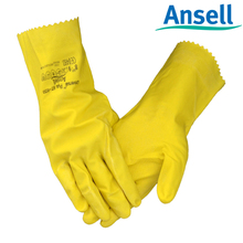 Hot-selling 3pairs length 30.5cm yellow labor protecting natural rubber safety glove on preventing from chemical acid & alkali