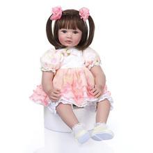 24inch 60cm Boneca Reborn Soft Silicone Vinyl Doll Soft Silicone Reborn Baby Doll Newborn Lifelike Bebe Reborn Dolls Brinquedos недорого