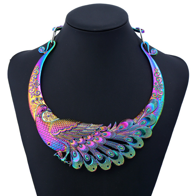 New Multi Color Carving Peacock Torques Metal Maxi Ethnic Choker Necklace  For Women 2018 Fashion Rhinestone Jewelry Accessories-in Choker Necklaces  from ... 246ee2615e71