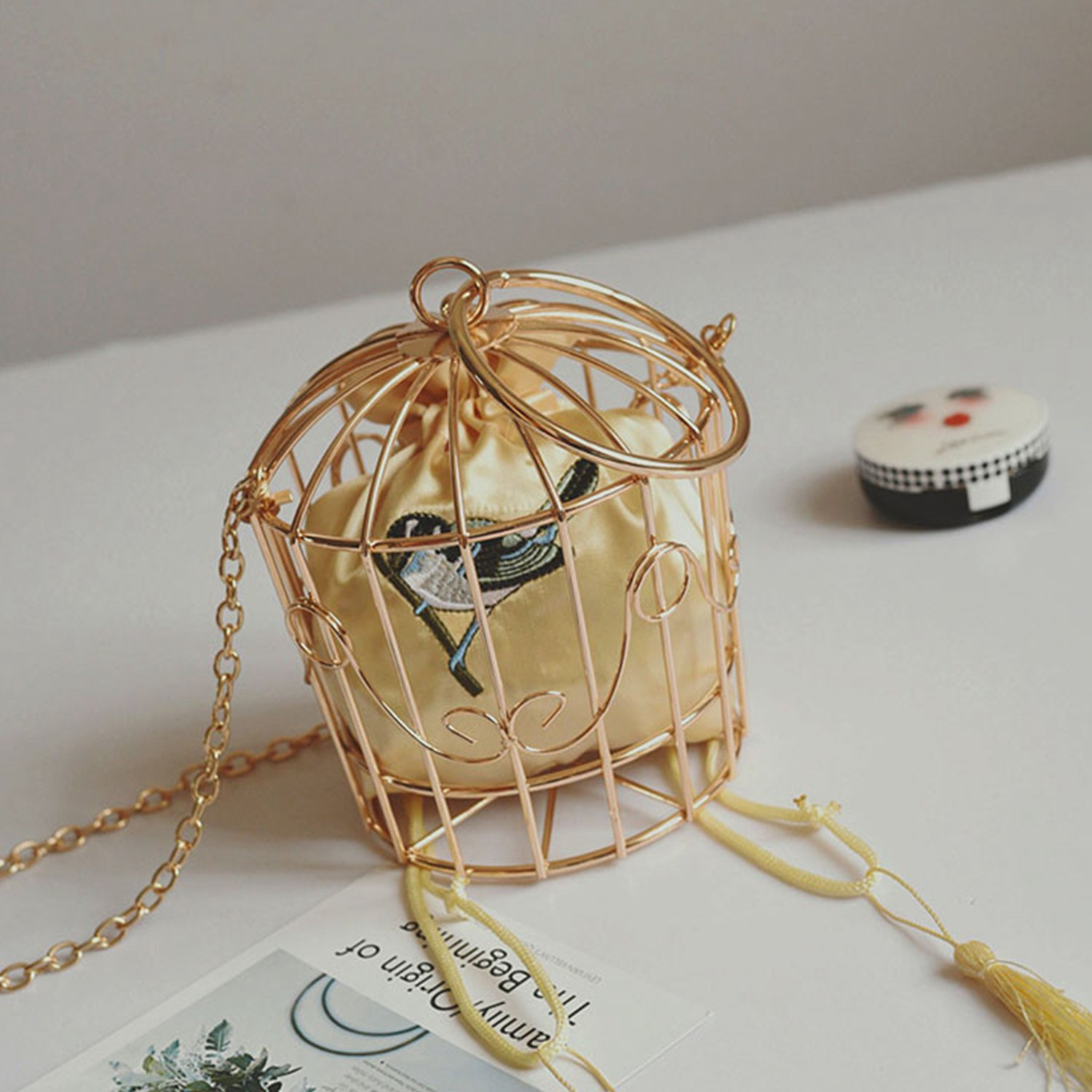 Personality Bird Cage Women Handbag Tote Metal Cage Girls Top-Handle Bags Coin Purse Fashion Party Pouch Tassel ClutchPersonality Bird Cage Women Handbag Tote Metal Cage Girls Top-Handle Bags Coin Purse Fashion Party Pouch Tassel Clutch