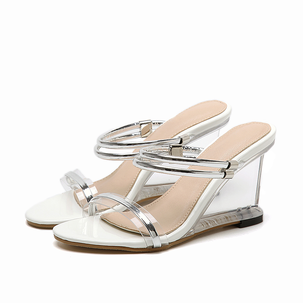Shoes zone sandals - Stripper Slip On Shoes For Women Summer Wedges Clear High Heels Jelly Transparent Sandals Women Sandalias