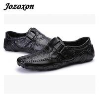Jozoxon Style Britannique Hommes de Causalité Chaussures En Cuir Véritable Glissement sur les Hommes Chaussures de Haute Qualité En Plein Air Chaussures Croc Non-slip chaussures Size39-46