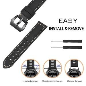 Image 4 - 22 مللي متر حزام جلد طبيعي ساعة ذكية المعصم الفرقة حزام ل Garmin Fenix 5/Fenix 5 Plus/Forerunner 935/Quatix 5 (لا تناسب سريعة)