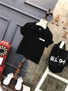 Image 3 - 2ชิ้นเด็กชายฤดูร้อนเสื้อผ้าชุดเด็กสีดำเสื้อเชิ้ตและสีขาวสั้นชุดเด็กแฟชั่นเปิดลงปกแขนสั้นท็อปส์2 7ครั้ง
