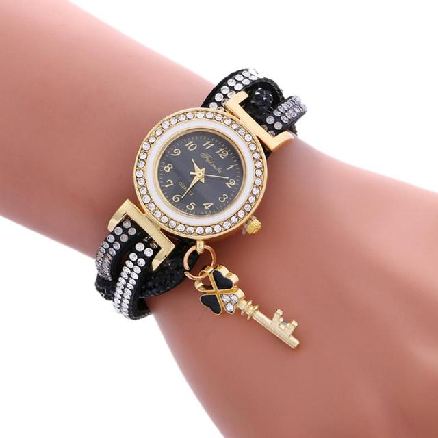 2018 New Fashion Casual Quartz Women Wrap Around Rhinestone Watch Braided Leathe