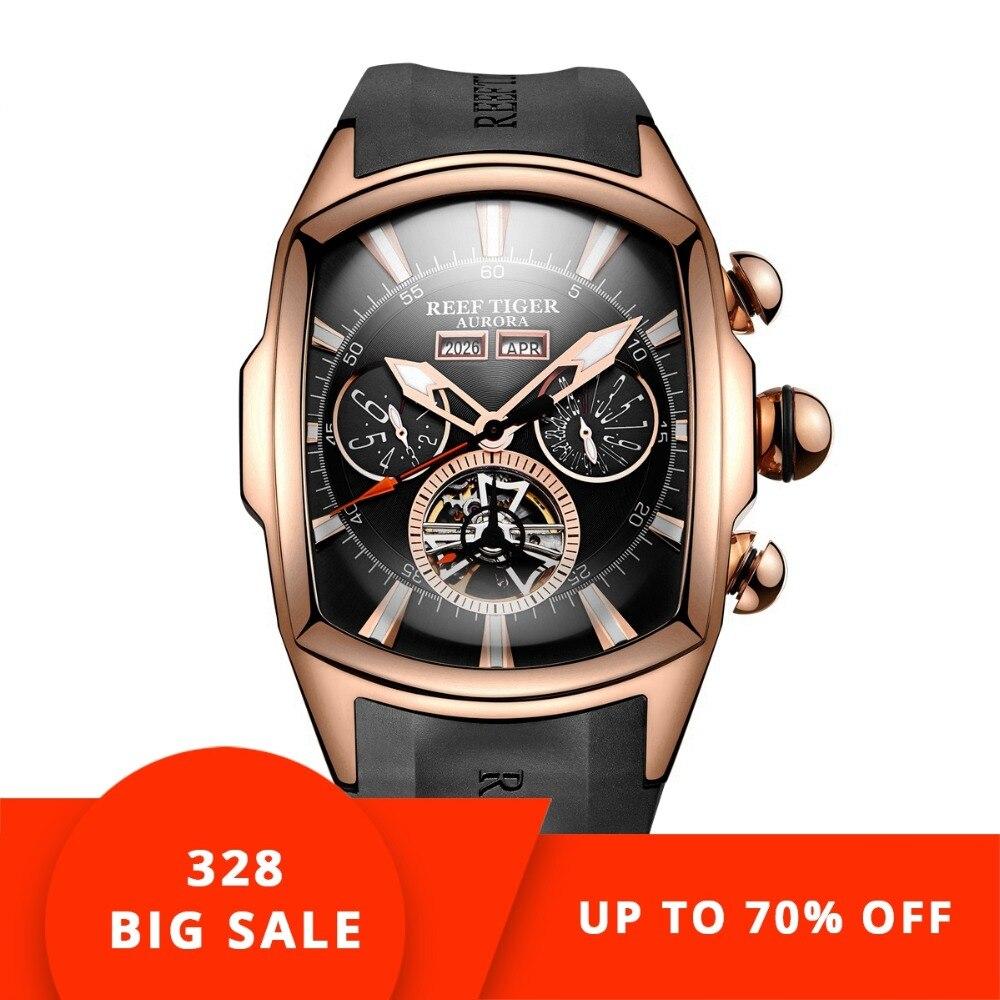 Récif Tigre/RT de montres de luxe Hommes Tourbillon Analogique montre automatique Or Rose Ton poignet de sport Montre bracelet en caoutchouc RGA3069