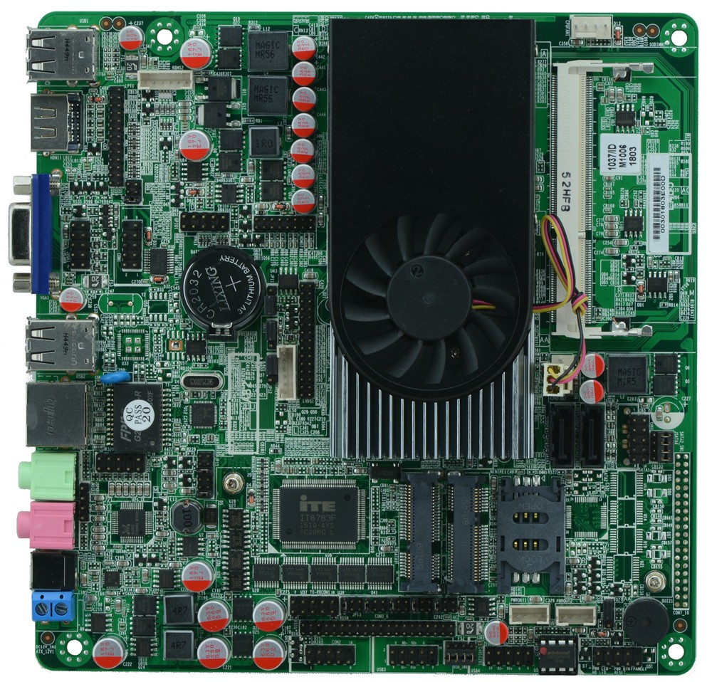 Onboard I3 3217U dual core 1.8GHz Industrial Thin Mini ITX Motherboard With 2HDMI /lLVDS /6*COM