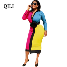 QILI Women Slim Waist Dress Turn-down Collar Long Sleeve Multi Patchwork Button Dresses Office Lady Work 2019 New