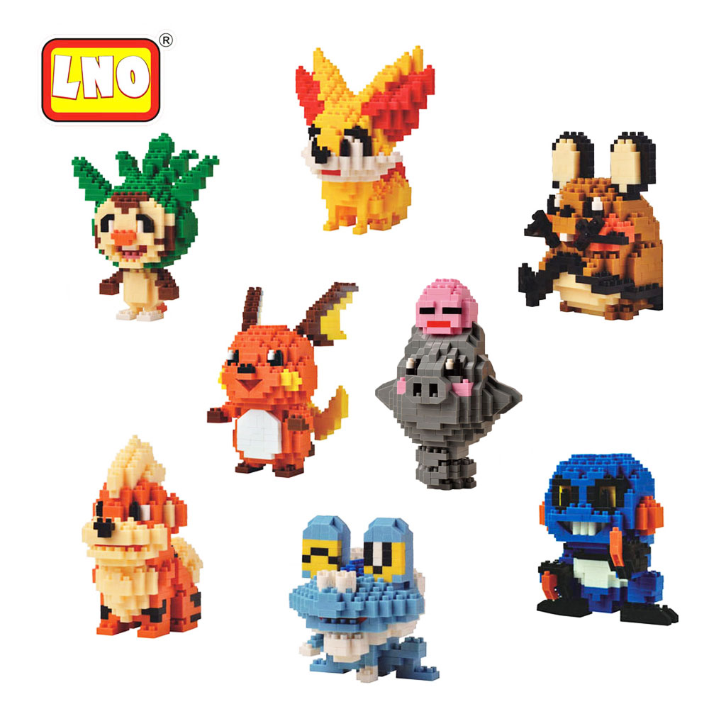 LNO 2017 Japan Cartoon Pikachu Diamond Action Figures Nano Blocks DIY Assembly Model Toys Micro Building Bricks Christmas Gifts lno big size super mario bros model action figures nano block micro diamond plastic building blocks diy bricks toys without box