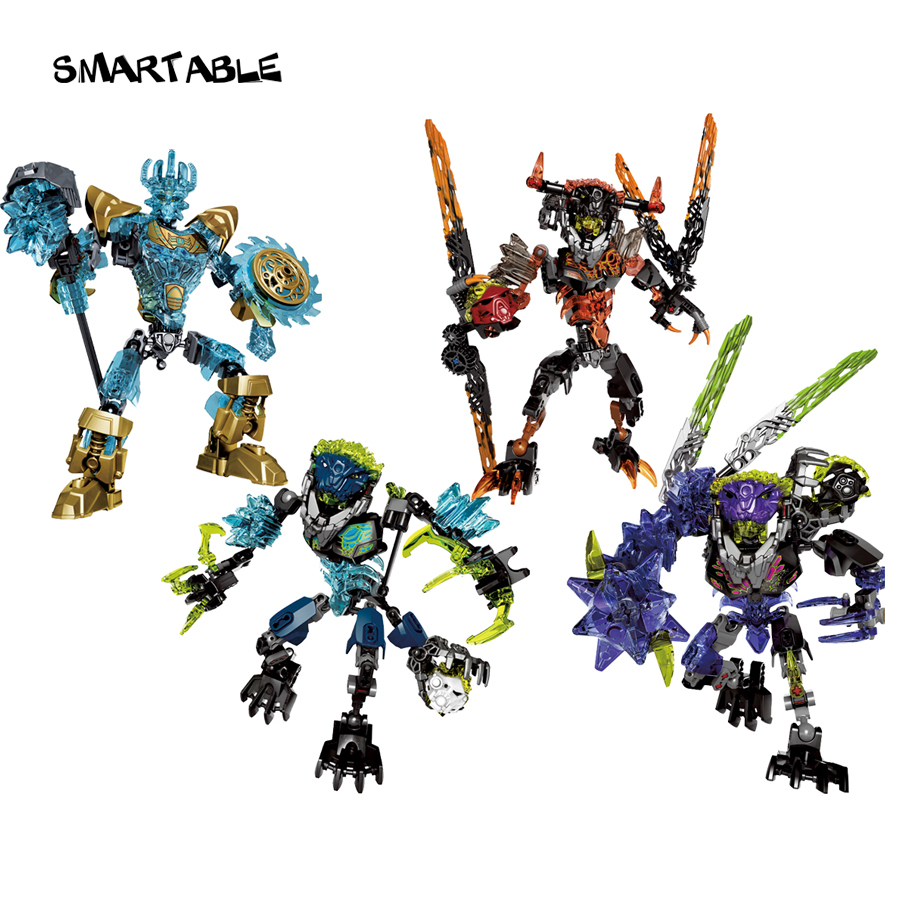 Serie BIONICLE 4 pcs / set Ekimu Umarak Storm Qurke figuras de acción 613 Building Block Toys For Boy Compatible legoing BIONICLE