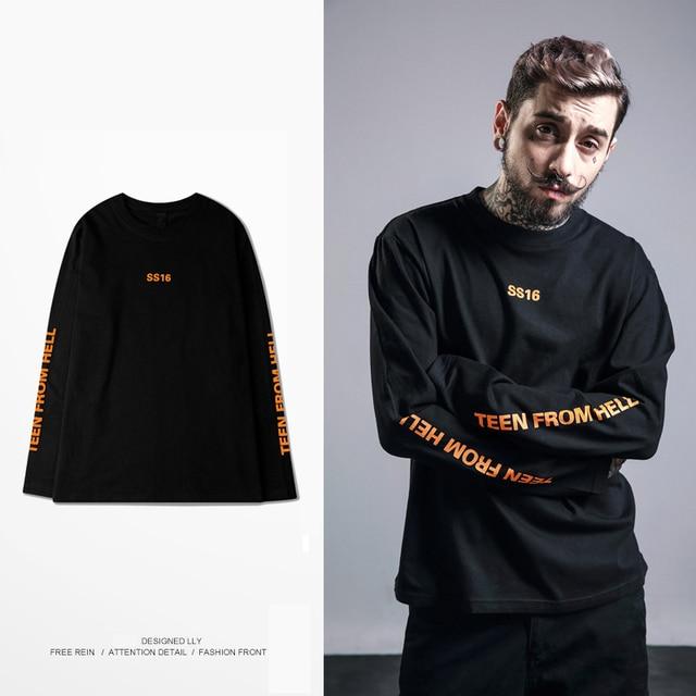 613f5b5f736e Brand Ss16 T Shirt Men Women Korea Vintage Orange Harajuku Letter Oversize  Long Sleeve Tee Hip Hop Skateboard Homme T-shirt Tops
