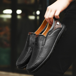 Image 3 - Men Shoes Casual Luxury Brand 2019 Genuine Leather Italian Men Loafers Moccasins Slip on Mens Boat Shoes Black Plus Size 37 47