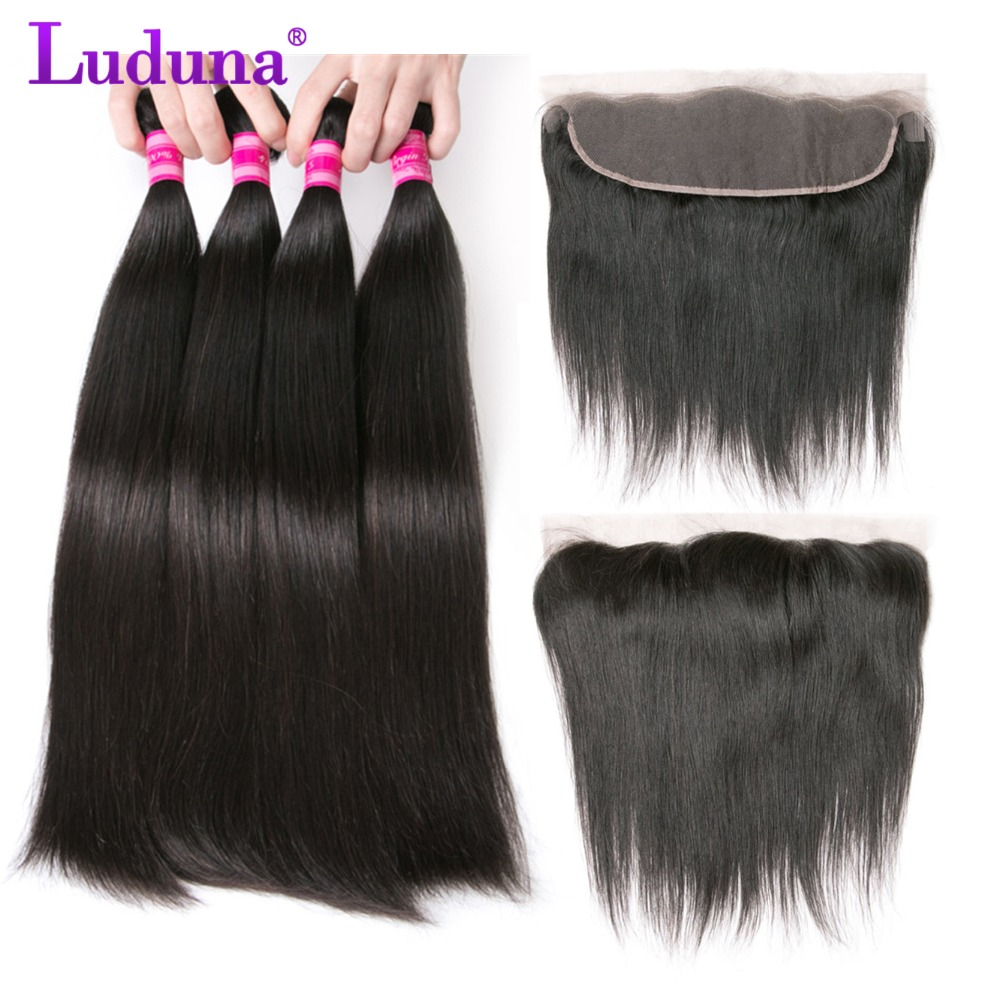 Luduna Lace Fronal With Bundles Straight Human Hair 3 Bundles With Closure Brazilian Hair Weave Bundles With Frontal Non Remy
