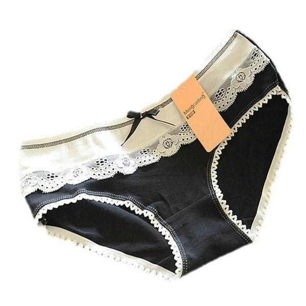 Adorável multi-cor das mulheres rendas arco-nó underwear cuecas calcinhas  de algodão macio 6e23ce66d2b