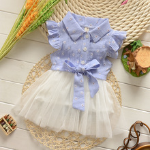 Весна Летнее детское платье Повседневное Стиль Платье для маленьких девочек высокое качество с бантом детское платье для Обувь для девочек отложным воротником Подпушка Воротник для маленьких девочек одежда