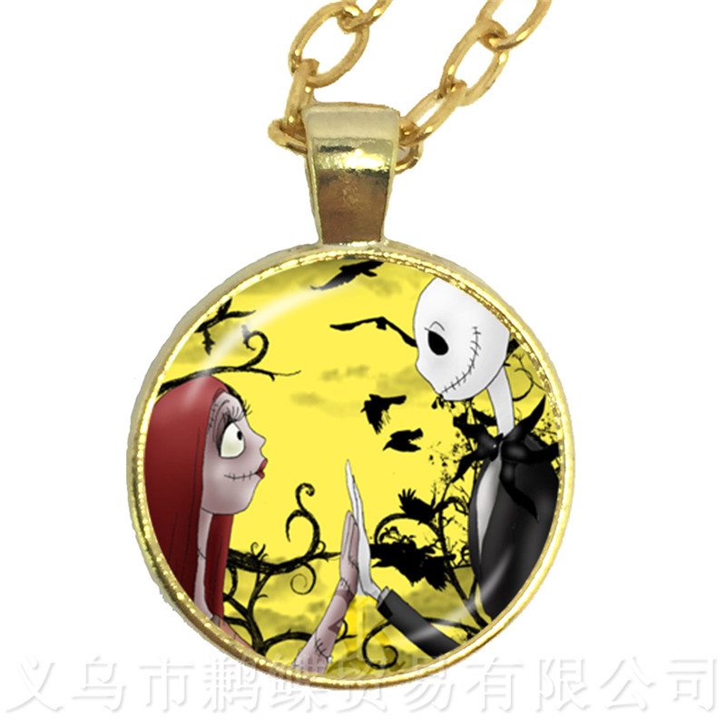 The Hot Sun Jack Skellington And Sally Series Pattern 25mm Glass Cabochon Hyperbole Necklace Halloween Party Gifts For Women