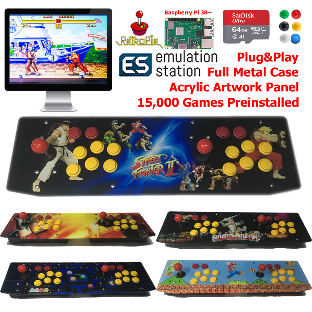 Two Players TableTop Arcade Retro Game Console Raspberry Pi 3B+ Artwork Panel Metal Case 64G