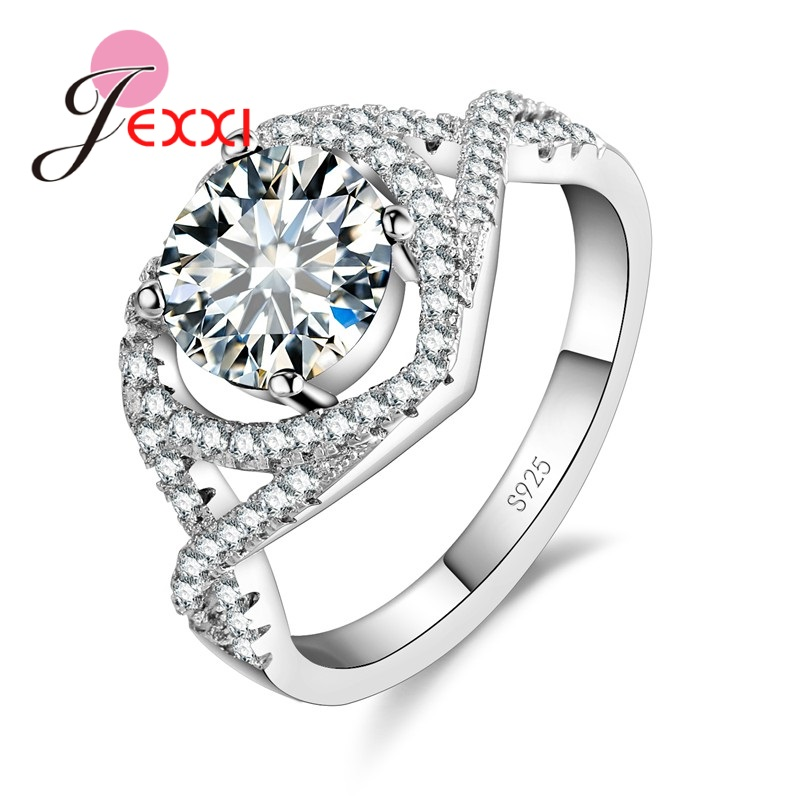 JEXXI 925 Sterling Silver Jewelry Engagement Heart Rings for Women CZ Zircon Cross Finger Ring Top Quality