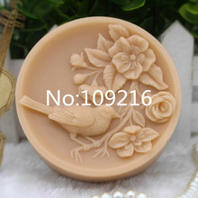 New Product!!1pcs Small Bird with Flower (zx281) Food Grade Silicone Handmade Soap Mold Crafts DIY Mould