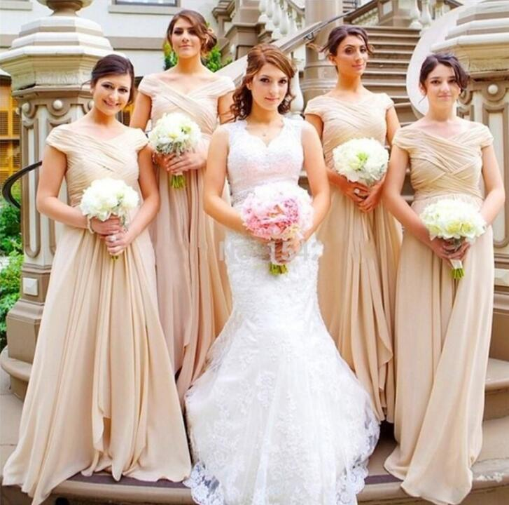 New Arrival 2018 V Neck Chiffon A Line   Bridesmaid     Dresses   Short Sleeves Sweep Train For Wedding Party On Sale M1838