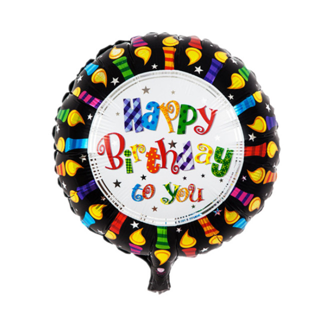 5pcs Free Shipping 4545cm Round Black Color Happy Birthday Foil Balloon Helium Balloons For Party Decoration