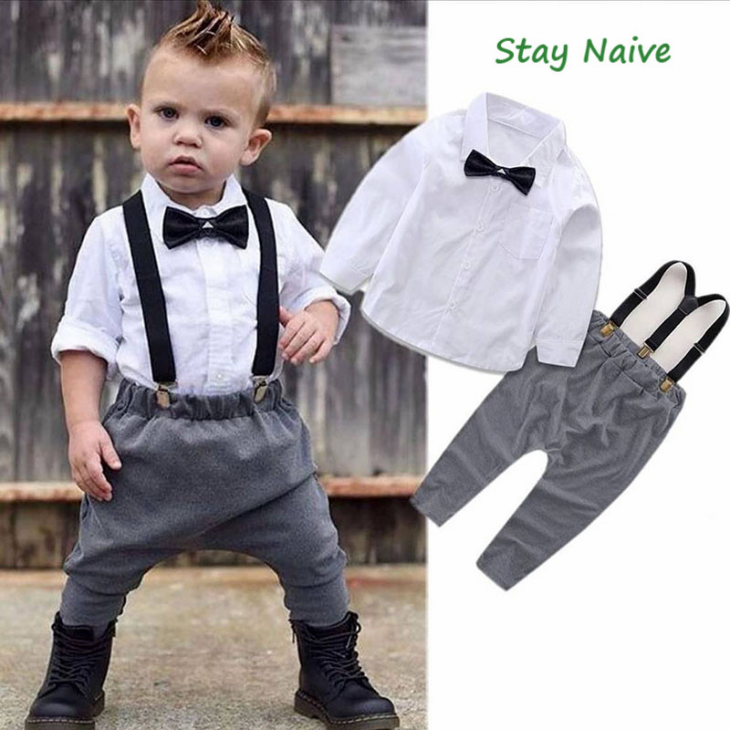 2018 Newborn Kids Clothes Set Baby Boys Outfits T-shirt Tops + Long Pants Party Baby Boy Clothes Sets
