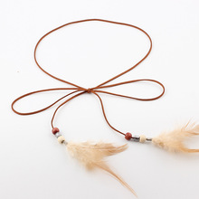 Hot Feather Decorated Leather Straps Belt