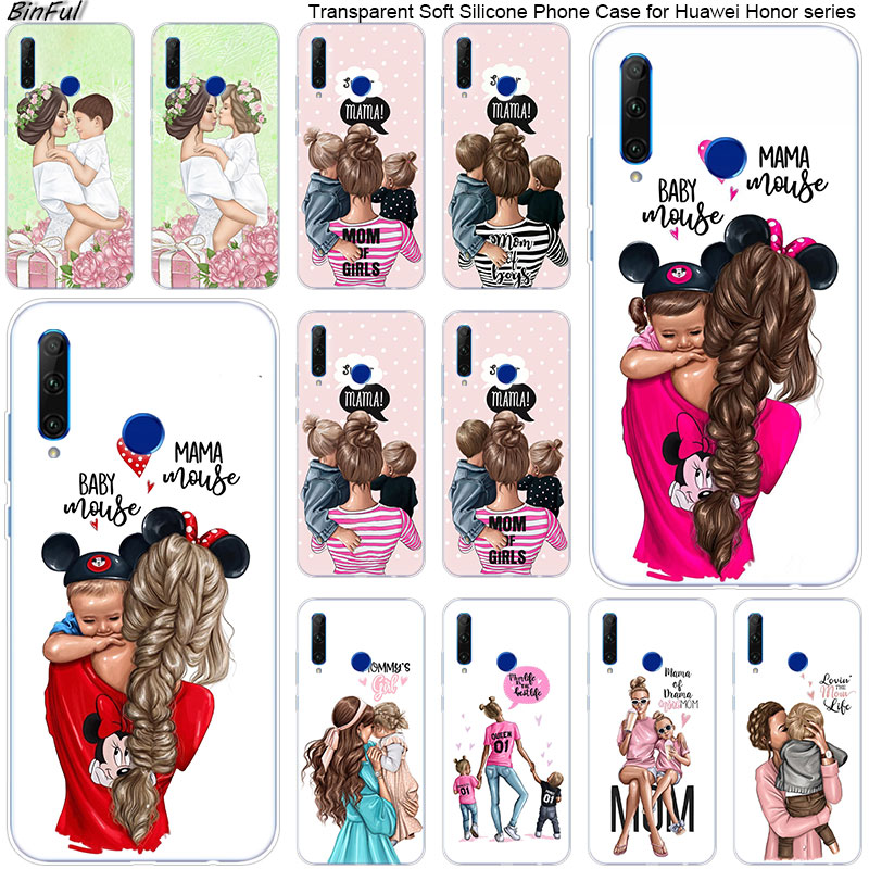 Hot Baby Mom Girl Boy Soft Silicone Phone Case for Huawei <font><b>Honor</b></font> 20 20i 10 <font><b>9</b></font> 8 <font><b>Lite</b></font> 8X 8C 8A 8S 7S 7A Pro View 20 Fashion Cover image