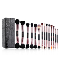 MSQ New Arrival 14pcs Makeup Brushes Set Rose Gold Double Ended Cosmetic Make Up Brush Beauty