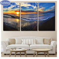Diamond Painting 3 PiecesWaves Seascape Mosaic diamond Embroidery full Square/Round Drill beach Sunset picture for home decor