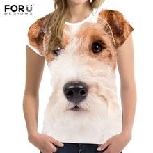 FORUDESIGNS Funny 3D Dog Fox Terrier Printed O Neck T Shirts Fashion Summer Short Sleeve T-Shirts Harajuku Animal Design Woman