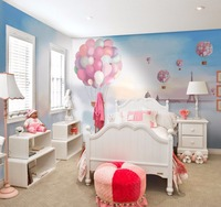 Tuya Art free shipping discount pure pink ballon dream poster mural wallpaper for girl bedroom wall decoration wholesale