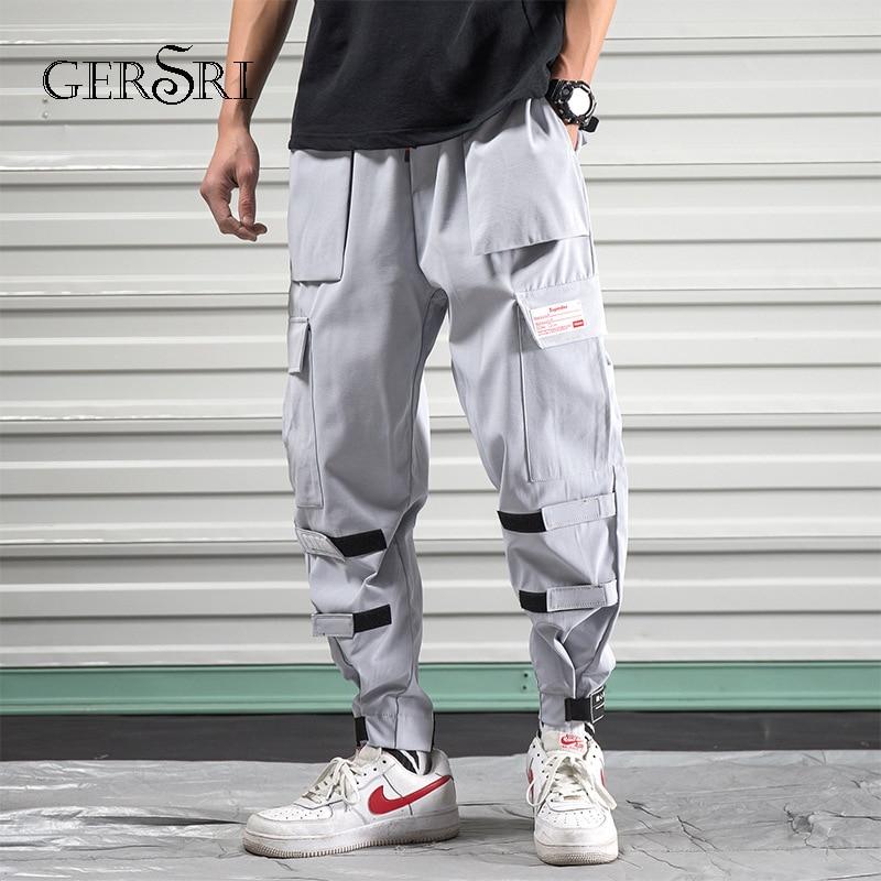 Gersri Männer Joggers Hip Hop Harem Streetwear Hosen Bänder Brief Stickerei Casual Hosen Beliebte Grau Hosen Teenager Feines Handwerk Hosen