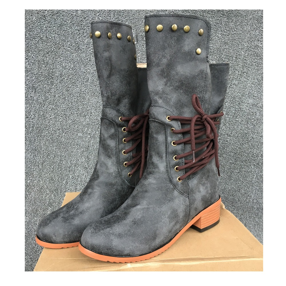 New  Mid-Calf Women Boots Solid Color Casual Gray Brown Black for