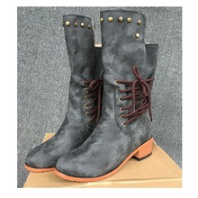 цены New  Mid-Calf Women Boots Solid Color Casual Boots  Gray Brown Black Boots for Women