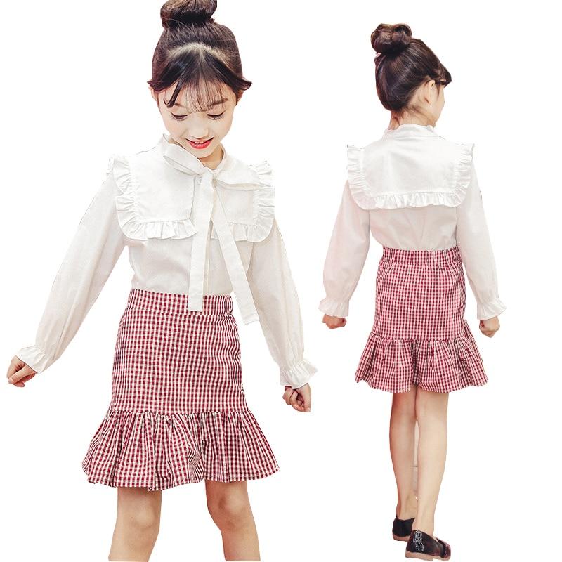 Girls Clothes Spring 2018 Children Clothing Sets Kids Sport Suit Plaid Skirt + Shirt Cotton Girls Clothing sets Kids Tracksuit