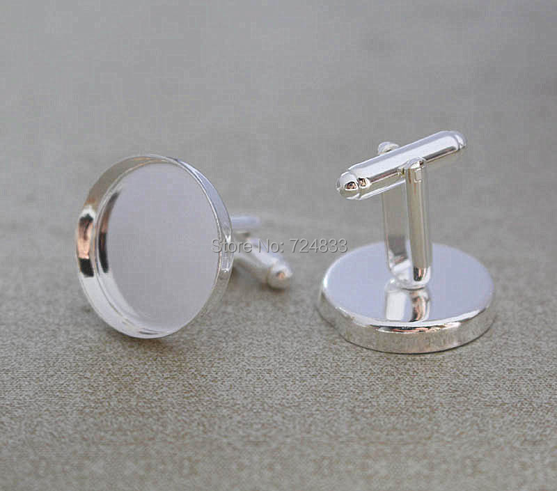 WHOLESALE HIGH QUALITY SILVER PLATED FLAT ROUND PAD BLANK CUFF LINKS 25X10MM